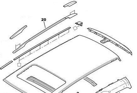 Надлъжна релса за багажник, лява - 307 ESTATE без прозорец на таван