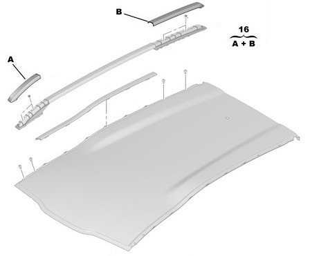 Капачки к-кт за Надлъжна релса за багажник, дясна - 2008 без прозорец на таван