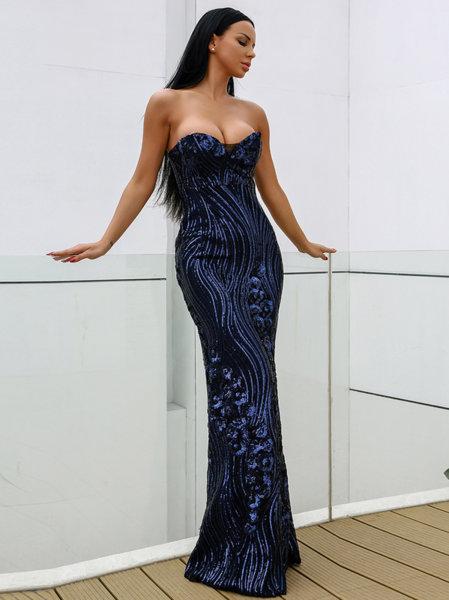 Дълга рокля Вивиан в син цвят