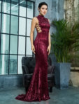 Дълга виненочервена пайетена рокля Елиана