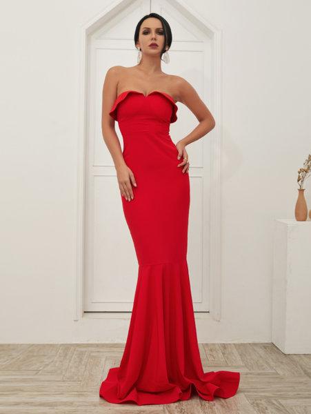 Дълга червена рокля Грация