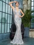 Сребриста бална рокля Фрида с пайети