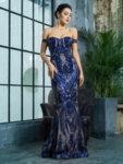 Тъмносиня бална рокля Роузи с пайети
