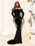 Дълга бална рокля Амал с голи рамене и декорация от пера