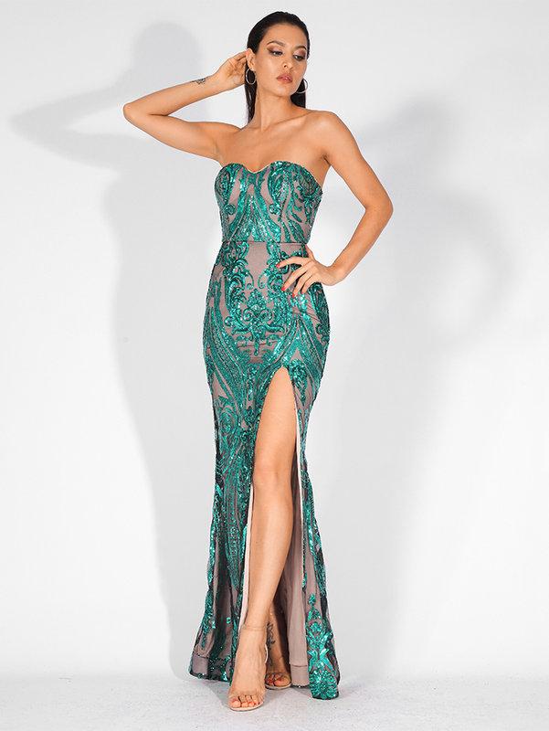 751896fa6c5 Зелена бална рокля Хана със цепка