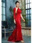 Пайетена бална рокля Дария с един ръкав в червен цвят