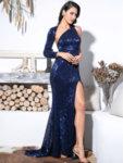 Пайетена бална рокля Дария с един ръкав в тъмносин цвят (със цепка)