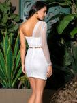 Луксозна вечерна рокля с един ръкав Каролин в леопардов принт-Copy