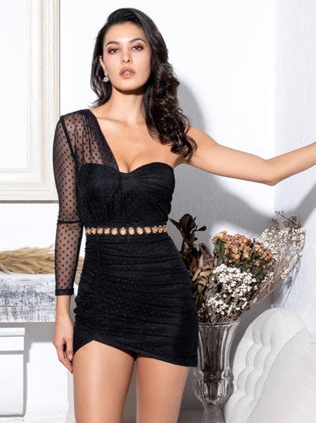 Черна асиметрична дантелена рокля с един ръкав Сесил