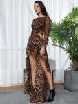 Шифонена рокля Дива в леопардов принт с дълги ръкави