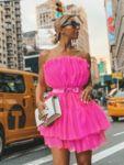 Разкроена цикламена рокля тип бюстие от тюл Антоанет