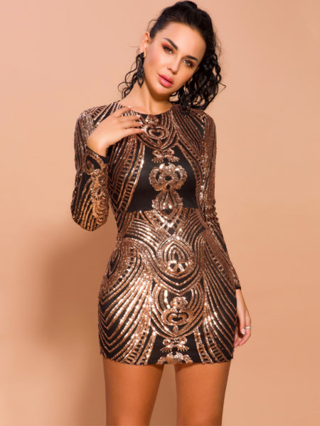 Еластична бодикон рокля с розовозлатисти пайети Марвел