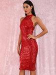 Еластична миди пайетена рокля Евиана в червен цвят