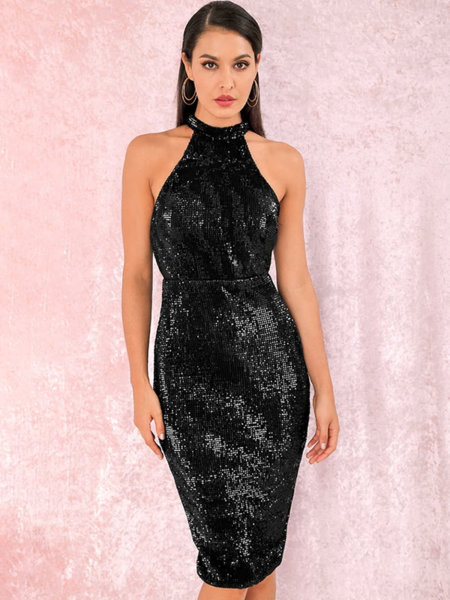 Еластична миди пайетена рокля Евиана в черен цвят
