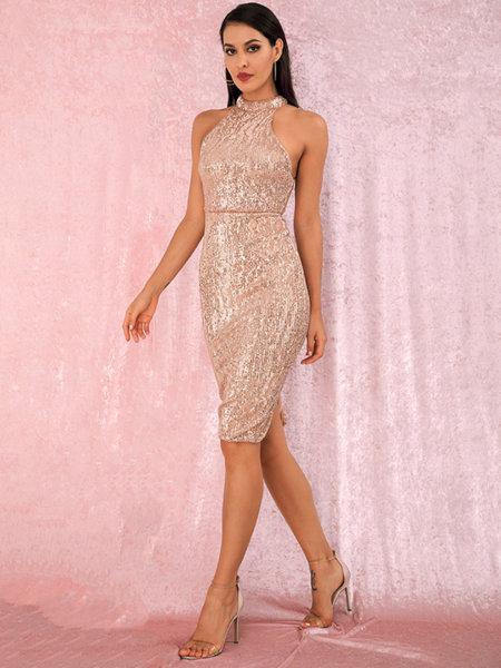 Еластична миди пайетена рокля Евиана в златист цвят