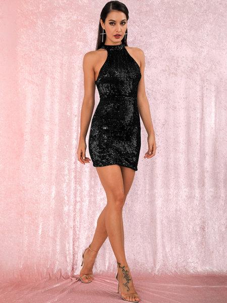 Еластична мини пайетена рокля Евиана в черен цвят