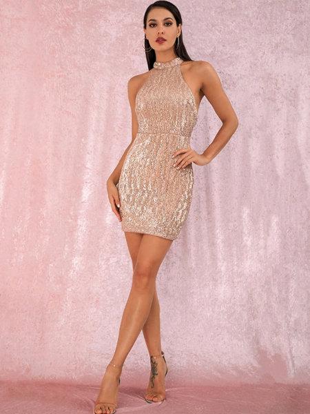 Еластична мини пайетена рокля Евиана в златист цвят