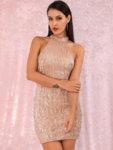 Еластична мини пайетена рокля Евиана в сребрист цвят-Copy
