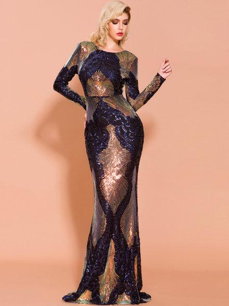 Дълга бална рокля Мабел с шарени пайети