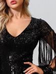 Пайетена дълга бална рокля Дейзи в цвят бордо-Copy
