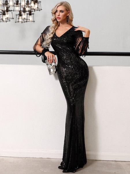 Пайетена дълга бална рокля Дейзи в черен цвят