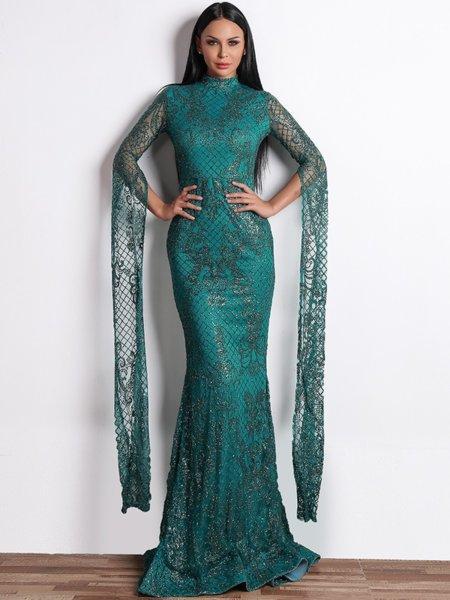 Ексклузивна брокатена дълга рокля Ариана в зелен цвят
