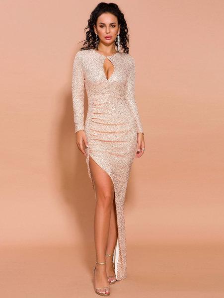 Дълга златиста рокля Тамара с асиметрична дълбока цепка