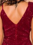 Дълга пайетена рокля Виктория в червен цвят