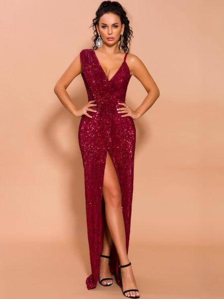 Дълга пайетена рокля Виктория във виненочервен цвят