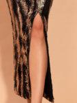 Миди златиста рокля Ния с пайети-Copy