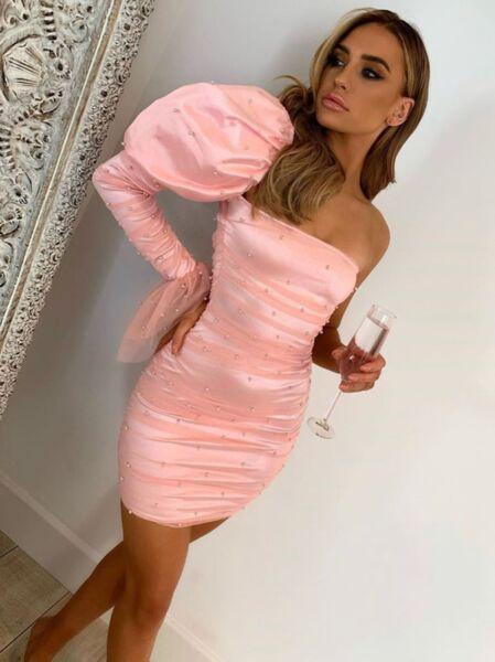 Бледорозова рокля Алексея с един ръкав