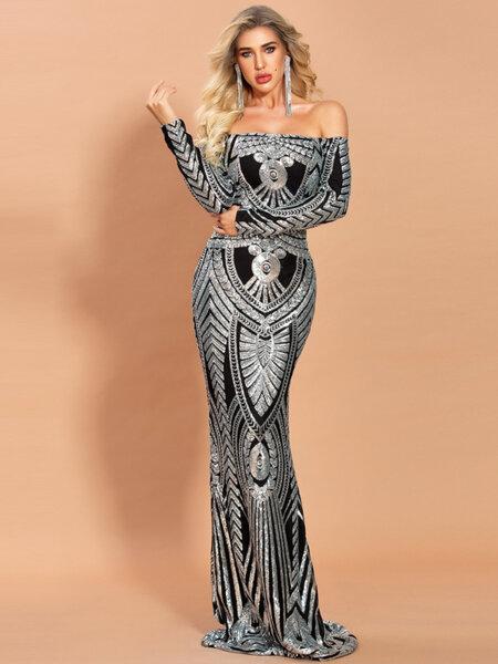 Дълга официална пайетена рокля Армина