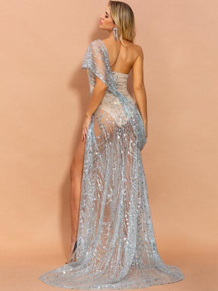Екзотична дълга рокля Азела в сребрист цвят