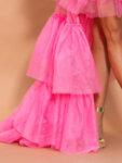 Разкроена цикламена рокля тип бюстие от тюл Антоанет-Copy