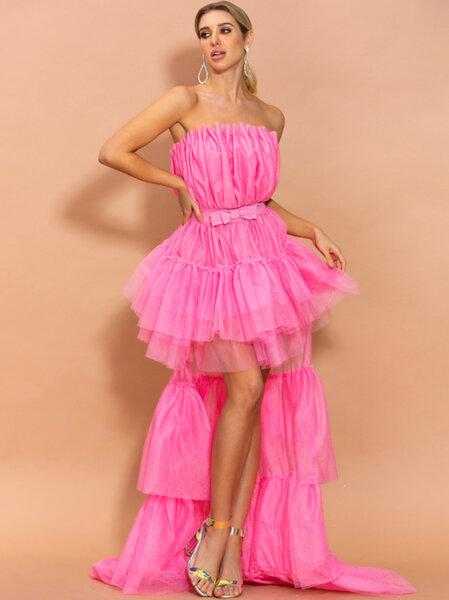 Дълга бална рокля от тюл Антоанет в цикламен цвят