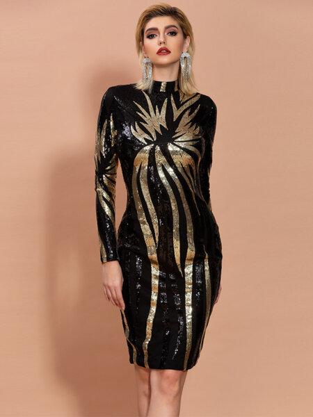 Луксозна миди пайетена рокля Марлен