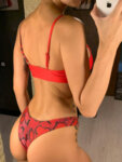 Червен бански Теа в змийски принт-Copy