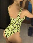 Цял бански Берта в червен леопардов принт-Copy