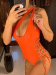 Цял дамски бански Дилена тип прашка в оранжев цвят