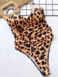 Оранжев цял бански костюм Нарцис с леопардов принт