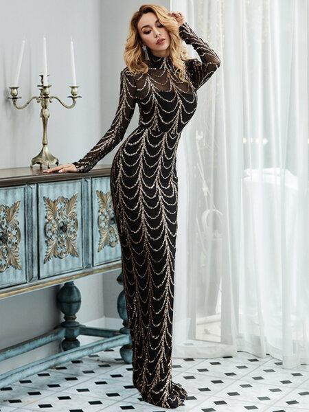 Дълга черна рокля със златисти пайетени детайли Грейс
