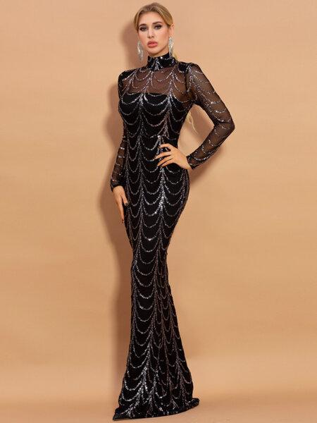 Дълга черна рокля със сребристи пайетени детайли Грейс
