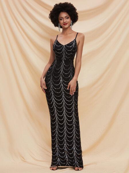 Дълга бална рокля Димана със сребристи пайети