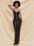 Дълга пайетена рокля Димана със златисти пайети-Copy