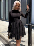 Разкроена рокля Ефросина с дълги ръкави в черен цвят