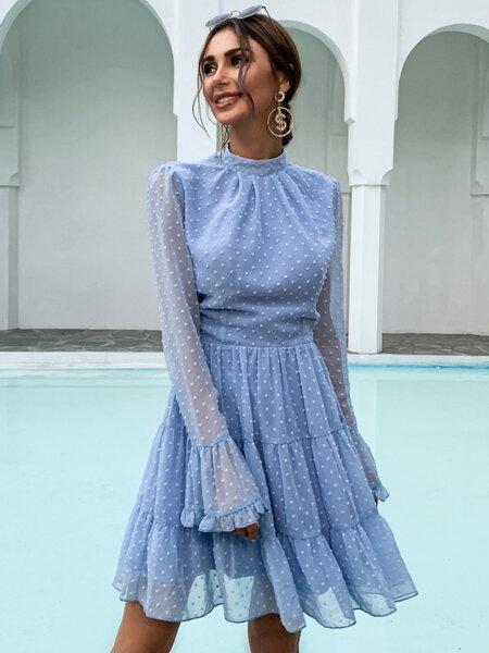 Разкроена рокля Ефросина с дълги ръкави в светлосин цвят
