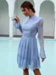 Разкроена рокля Ефросина с дълги ръкави в розов цвят