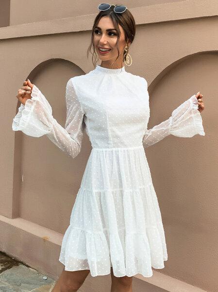 Разкроена рокля Ефросина с дълги ръкави в бял цвят