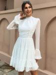 Разкроена рокля Ефросина с дълги ръкави в черен цвят-Copy