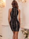 Черна пайетена рокля с голи рамене Даника